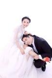 Diversión de los pares de la boda Foto de archivo libre de regalías
