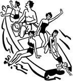 Diversión del canotaje de la familia ilustración del vector