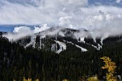 Diversión del esquí de la caída Fotografía de archivo