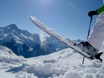 Diversión del esquí en un top de la montaña Imagen de archivo libre de regalías