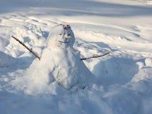 Diversión del invierno Muñeco de nieve Imagen de archivo libre de regalías