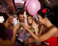 Diversión del partido con champán Foto de archivo libre de regalías