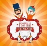 diversión del payaso y de los caballos del funfair del festival del cartel libre illustration