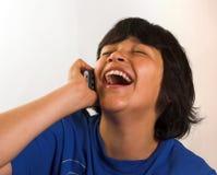 Diversión en el teléfono Fotografía de archivo libre de regalías