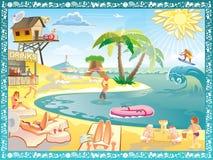 Diversión en la playa - agua, sol, actividad stock de ilustración