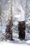 Diversión en las maderas del invierno Imagen de archivo libre de regalías