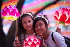 Diversión joven en el festival de linterna del youngdung Fotografía de archivo libre de regalías