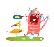 Diversión loca Cat Eating Eggs del pájaro stock de ilustración