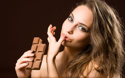 Diversión sensual del chocolate. Fotos de archivo libres de regalías