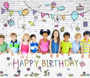 Diversi bambini sulla festa di compleanno Fotografia Stock Libera da Diritti