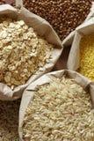Diversi cereali in sacchetti Immagine Stock