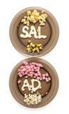Diversi ingredienti dell'insalata su due piatti e mayon dell'iscrizione Fotografie Stock
