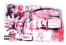 Diversidad de la gente en el dibujo de la iglesia libre illustration