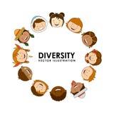 Diversidad de razas stock de ilustración