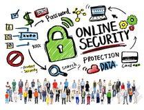Diversidad en línea de la gente de la seguridad de Internet de la protección de seguridad fotografía de archivo