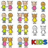 Diversidade da amizade dos miúdos ilustração do vetor