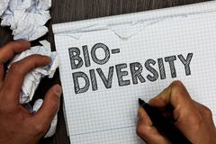 Diversidade do texto da escrita da palavra bio Conceito do negócio para a variedade de organismos Marine Fauna Ecosystem Habitat  fotografia de stock