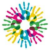 A diversidade Multicolor entrega o círculo Fotos de Stock Royalty Free