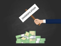 Diversification business concept illustration with businessman hand holding a banner on top of cash money. Vector Royalty Free Stock Photography
