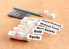 Diversification of Money Investment Concept. Investment in rupees in equity, fixed deposit, mutual fund, gold and real estate royalty free stock photography