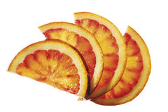 Diversified orange slices, elevated view, close-up Royalty Free Stock Image