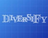 Diversify Word Blueprint Stock Image