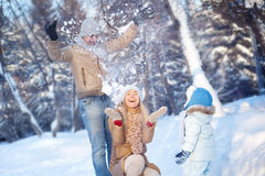 Diversión de la familia en un invierno Imagen de archivo libre de regalías