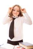 Diversión poca muchacha del negocio en camisa y lazo Fotos de archivo