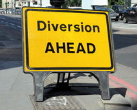 Diversion Ahead. Sign on a street in London, United Kingdom Royalty Free Stock Photography