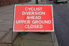 Diversion Ahead Cyclist. Street Sign Informing Cyclist About Diversion Ahead royalty free stock photography