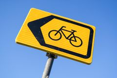 Diversion for cyclists. Dutch road sign: diversion for cyclists royalty free stock photography