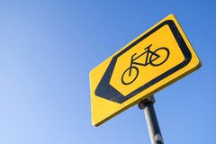 Diversion for cyclists. Dutch road sign: diversion for cyclists stock photo