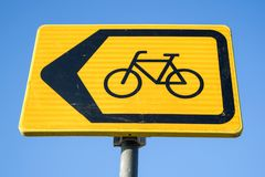 Diversion for cyclists. Dutch road sign: diversion for cyclists royalty free stock photo