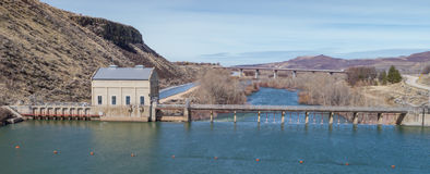 Diversion dam and bridge on the Boise River Royalty Free Stock Image