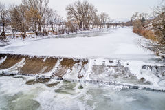 Diversion dam on Poudre River Stock Images