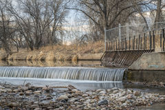 Diversion dam on Poudre River Royalty Free Stock Photo