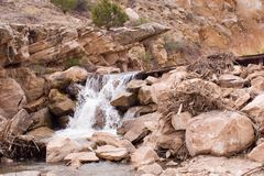 Diversion dam waterfall 1. An irrigation diversion dam creates a small waterfall Stock Images