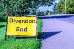 Diversion end sign on pedestrian footpath uk road Stock Images