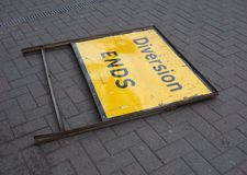 Diversion ends sign. Fallen on the road stock images