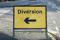 Diversion sign. With arrow pointing left Stock Images