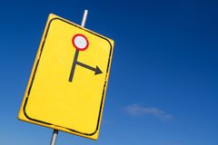 Diversion to the right. Road closed ahead stock photos