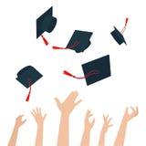 Diversità della gente che tiene i certificati e che getta i cappucci di graduazione illustrazione vettoriale