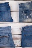 Diversità delle blue jeans Fotografia Stock