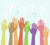 Diversità delle mani sollevate e dei punti interrogativi Fotografia Stock Libera da Diritti