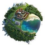 Diversità miniatura di paesaggio del globo Immagini Stock
