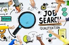 Diversiteitshanden die Job Search Opportunity Concept zoeken Royalty-vrije Stock Foto's