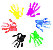 Diversity. Logo made by abstract colorful hand palm prints on white background Stock Illustration