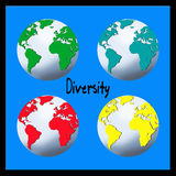 Diversity. The word DIVERSITY between four world globes in blue, yellow, red and green on a blue background to conceptually indicate the wide range of vector illustration
