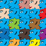 Diversity. Faces of different colors are featured in a tessellating abstract background illustration vector illustration