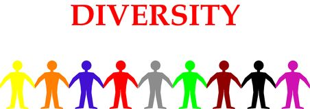 Diversity. Different colored people holding hands Royalty Free Stock Image